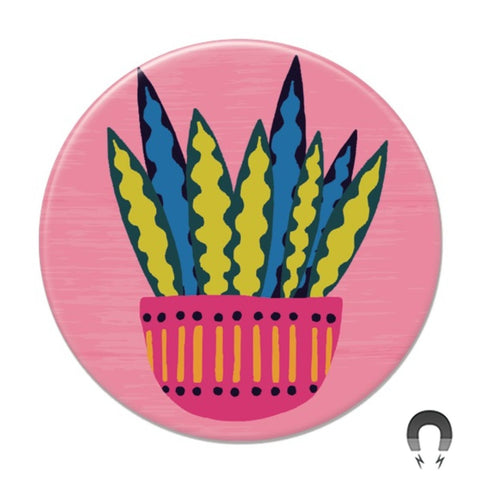 Snake Plant on Pink Big Magnet