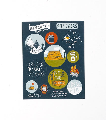 Happy Camper Stickers by Kate Sutton