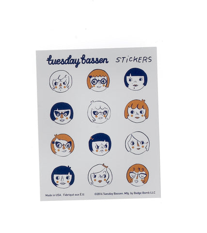 Girl Heads Stickers by Tuesday Bassen