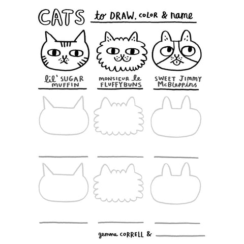 FREE Download! Cats to Draw Activity Sheet by Gemma Correll