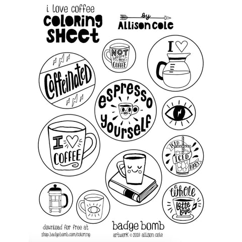 FREE Download! I Love Coffee Activity Sheet by Allison Cole