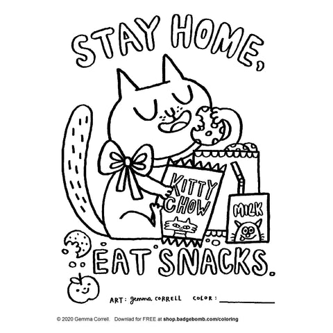 FREE Download! Stay Home Eat Snacks Activity Sheet by Gemma Correll