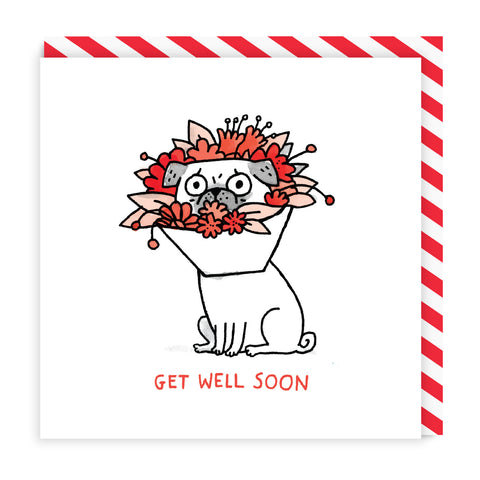 Get Well Soon Pug Square Card