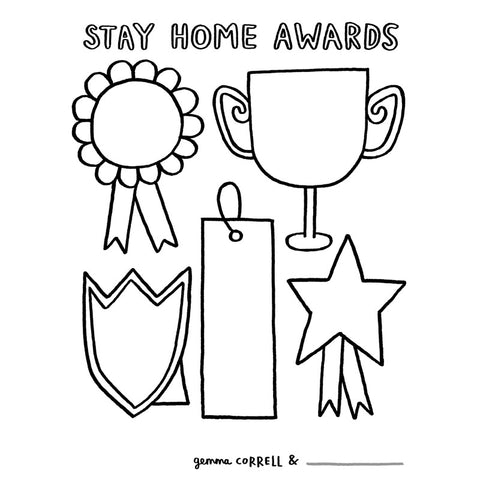 FREE Download! Stay Home Awards Activity Sheet by Gemma Correll