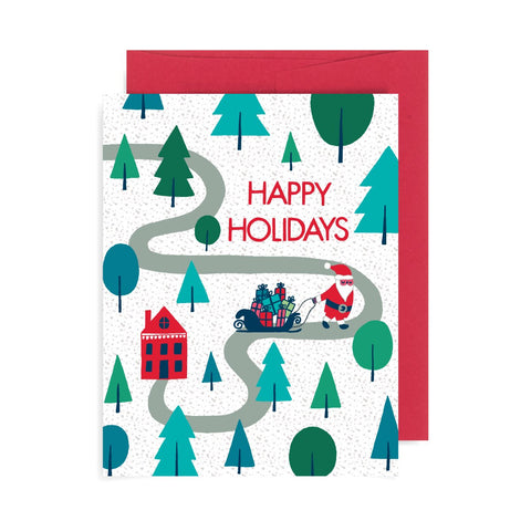 Happy Holidays Village A2 Card