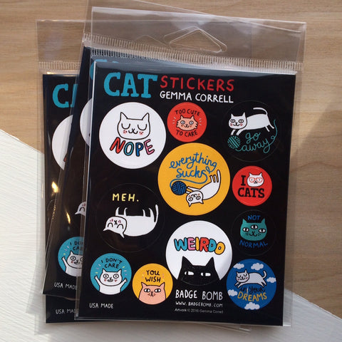 Cattitude Stickers by Gemma Correll
