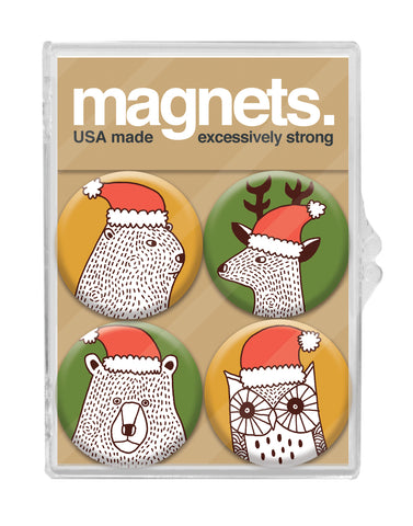 Holiday Hat Animals Magnet Pack