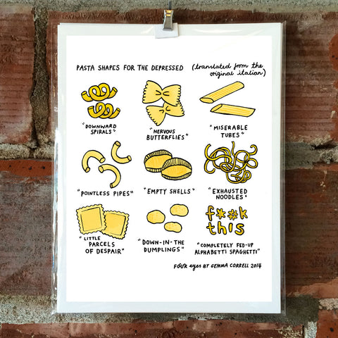 Pasta Shapes for the Depressed 8 x 10 Print