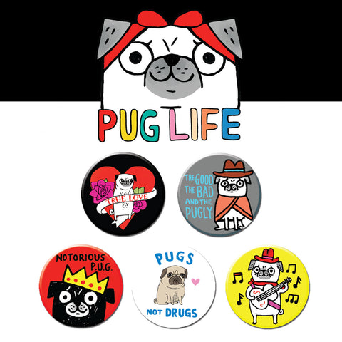 Pug Life Buttons • Pack #2