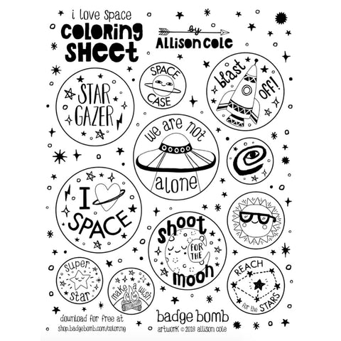 FREE Download! I Love Space Activity Sheet by Allison Cole