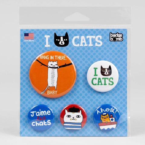 I Cat Cats Button Pack
