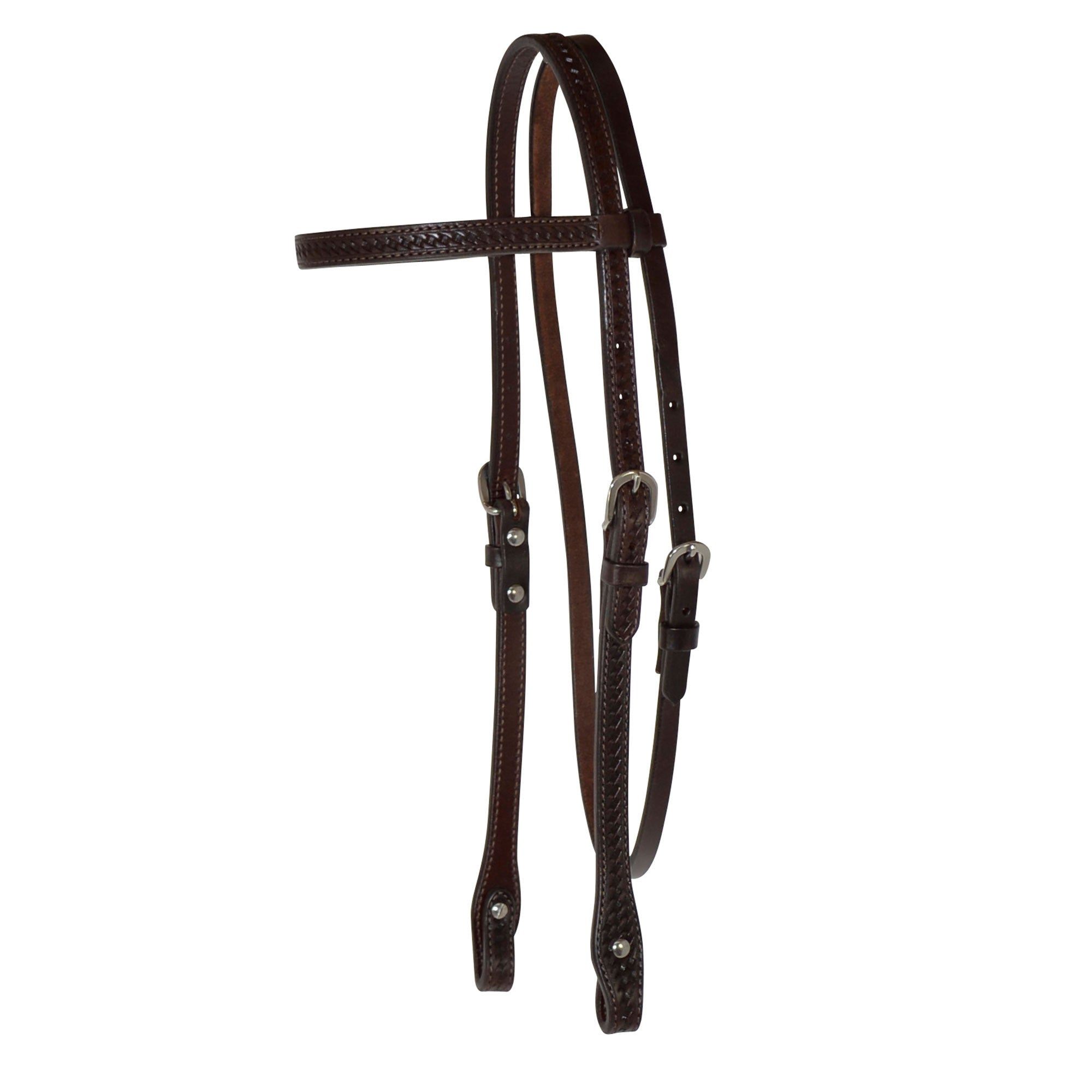 "⅝"" – Basketweave Tooled Browband Headstall"