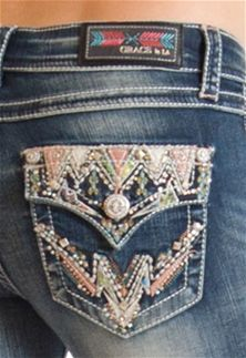 Regular Fit Bootcut V Embellished Pocket Jeans