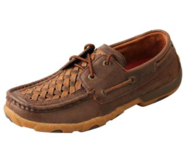 Women's Twisted X Driving Mocs D Toe Woven Tan/Brown- WDM0140