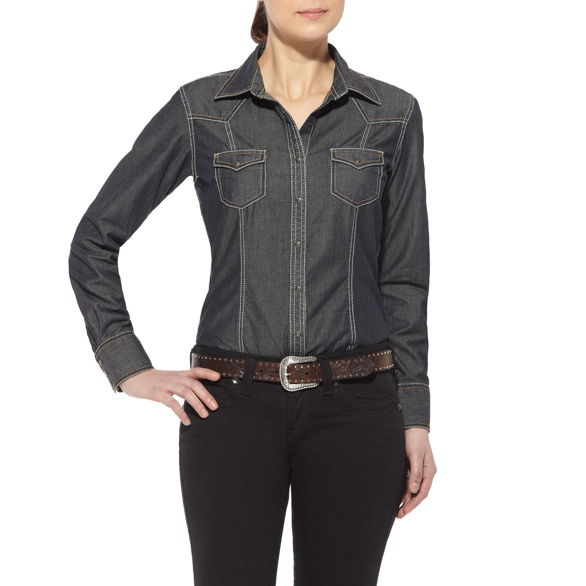 Ariat Womens Georgia Snap-up Distressed Grey Shirt