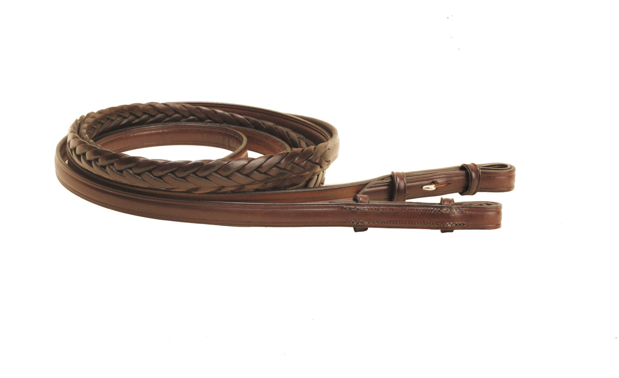 "Tory Leather 60"" Plaited Rein With Hook & Stud Bit Ends"