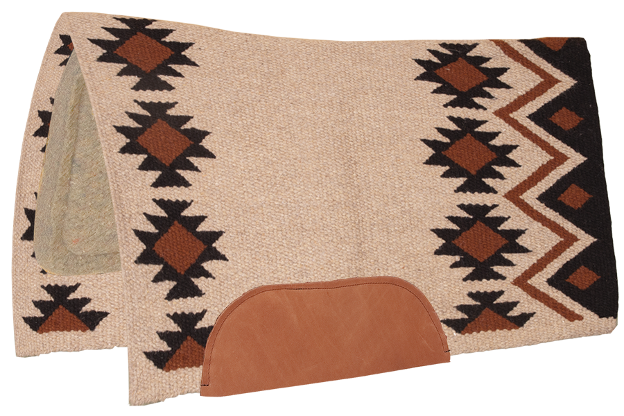 "36"" X 34"" Aztec 100% New Zealand Wool Contoured Pad With 1/2"" Tan Wool Bottom"
