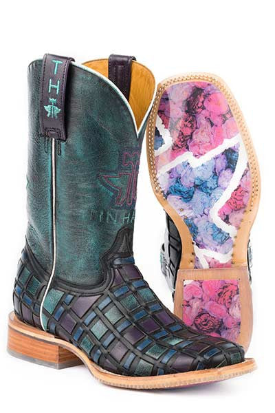 Ladies Tin Haul Entwined Distressed Turquoise Wide Square Toe Boot w/ Roses Obvious Sole