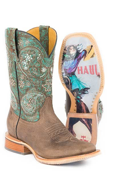 Ladies Tin Haul Ban-Dan-Uh Boots w/ Vintage Rider Girl Obvious Sole