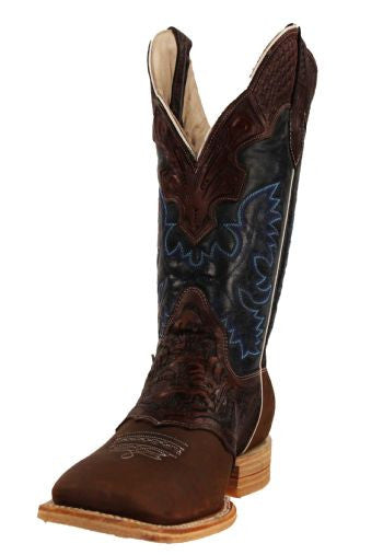 a72ade4cd43 Men's Rockin Leather Hand Tooled Overlay Western Boot