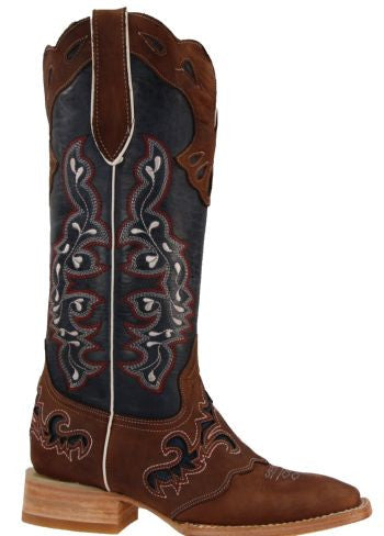 Women's Rockin Leather Tall Distressed Brown Boot With Wide Square Toe in Blue