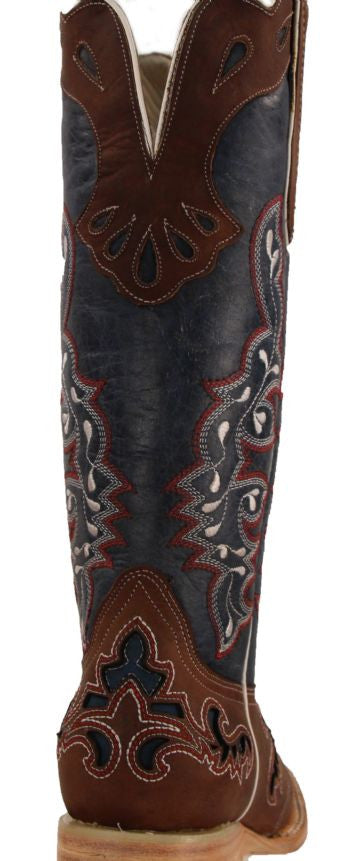 75b7e096843 Women's Rockin Leather Tall Distressed Brown Boot With Wide Square Toe