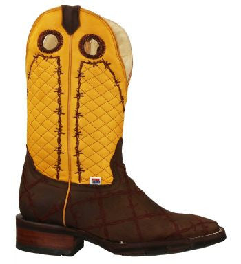 0b4884c79ae Men's Rockin Leather Barbed Wire Square Toe Western Boot