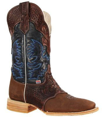 Men's Rockin Leather Hand Tooled Overlay Western Boot