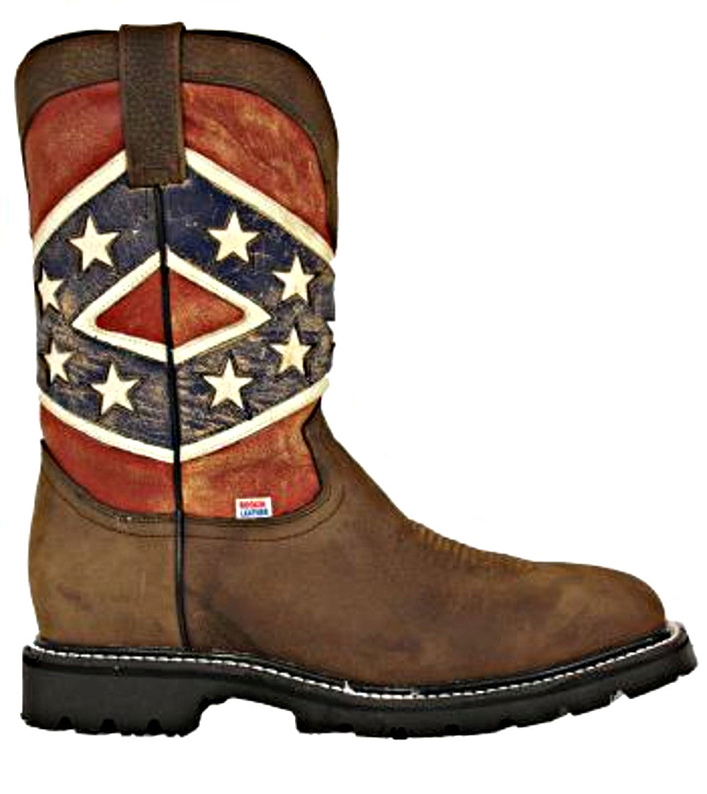 Men's Rockin Leather Confederate Flag Steel Toe Work Boot