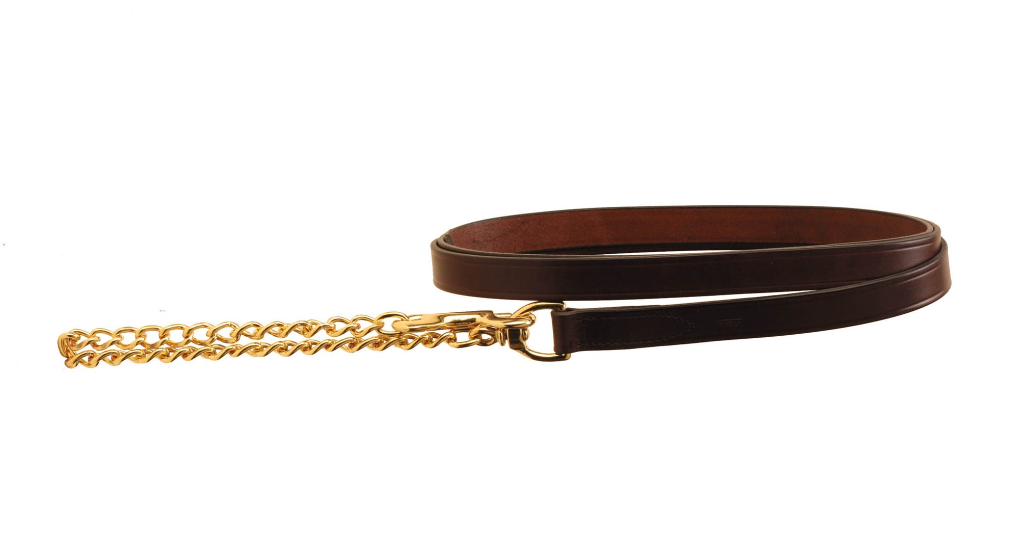 "Tory Leather 1"" Lead With 30"" Solid Brass Chain"