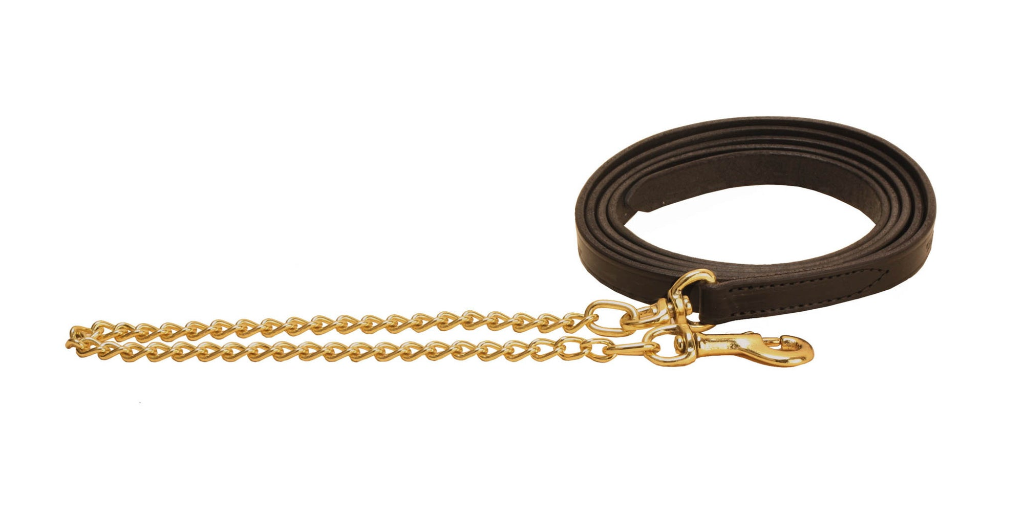 Tory Leather Lead With Fine Brass Plated Chain