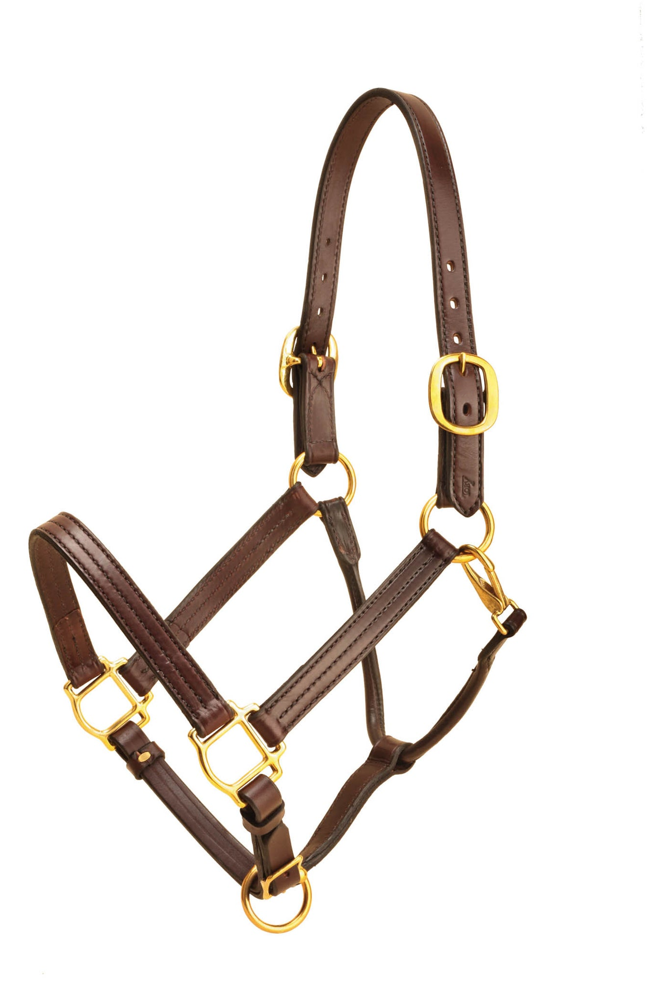 Tory Leather Horse Triple Stitched Halter W/Rolled, Snap Throat