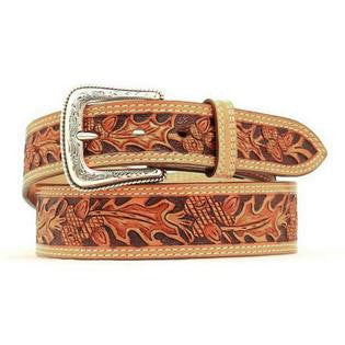 Men's Leaf Tooled Belt Natural
