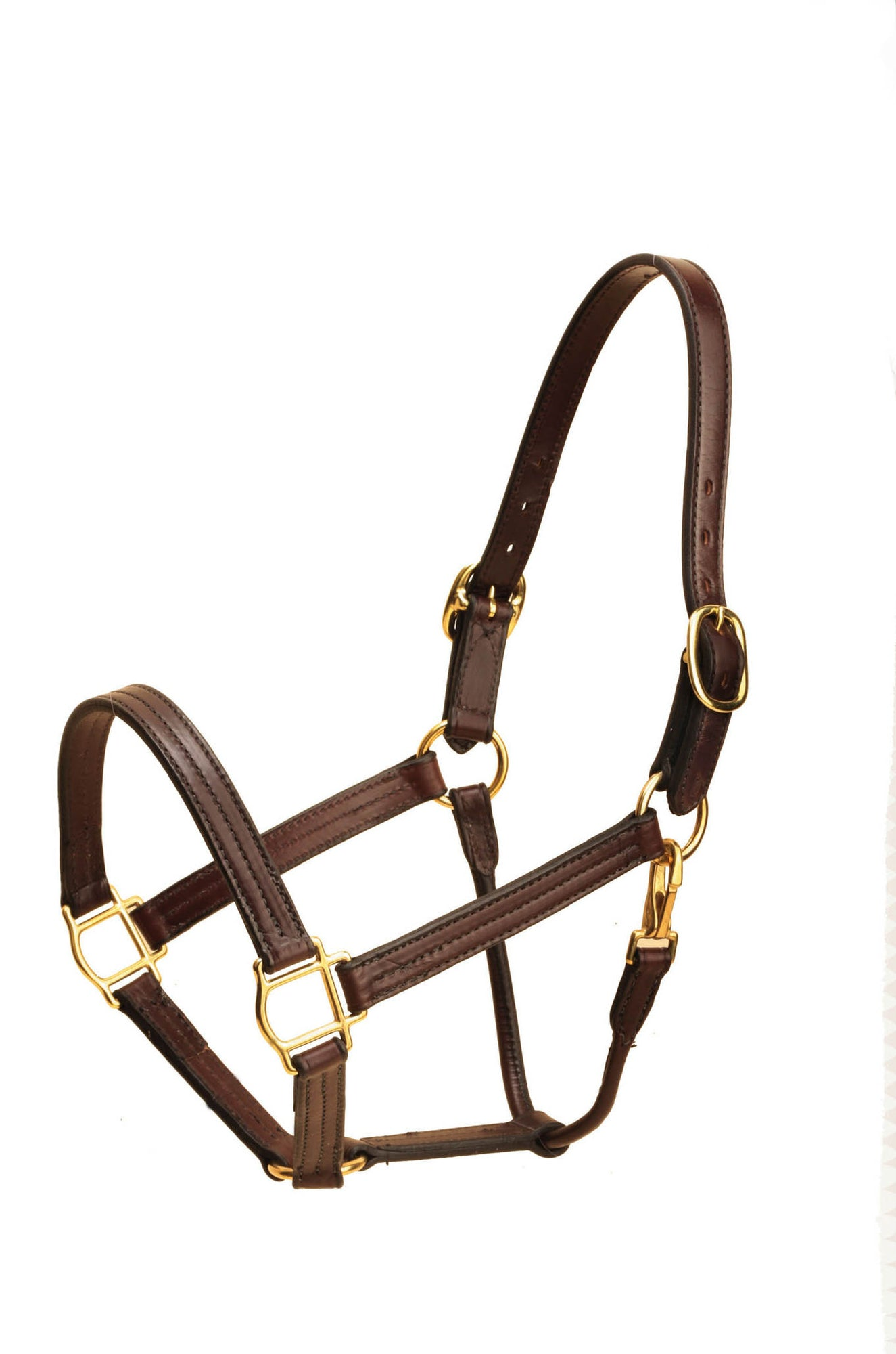 Tory Leather Horse Size Triple Stitched Halter,Snap Throat Fixed Nose