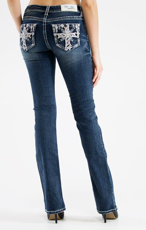 Easy Fit Bootcut Cross Pattern Pocket Jeans