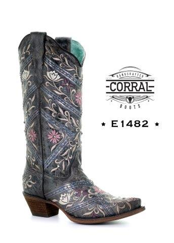 Ladies' Corral Black Studs & Embroidery & Crystal Boots