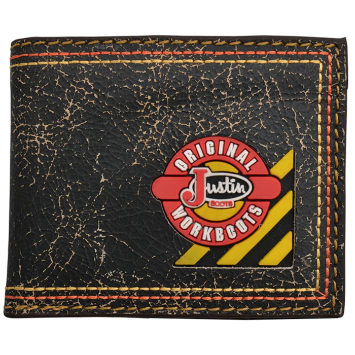 Justin Original Workboots Black Crackled Leather Work Bifold Wallet