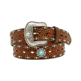 Ariat Womens 1/2'' Diamond Cutout Stones Concho Belt Brown