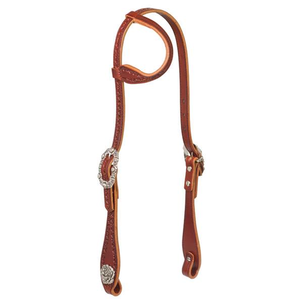 Filigree Hand Tooled Sliding Ear Headstall