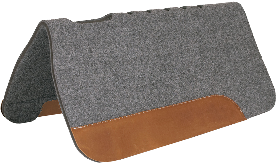 Mustang Pro Ride Felt Saddle Pad w/ Top Grain Wear Leathers