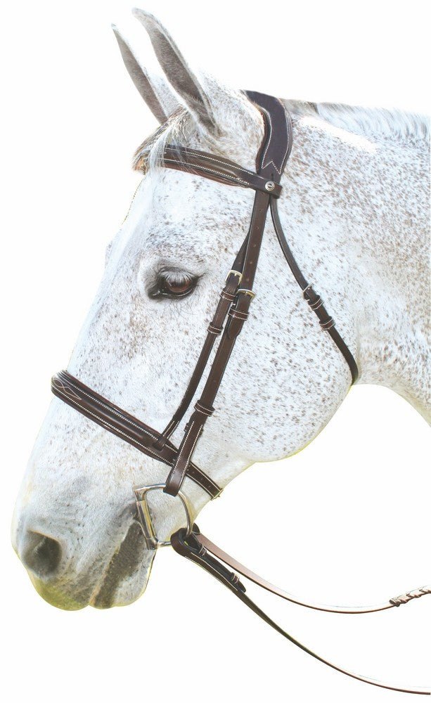 Henri de Rivel Pro Mono Crown Fancy Bridle with Patent Leather Piping