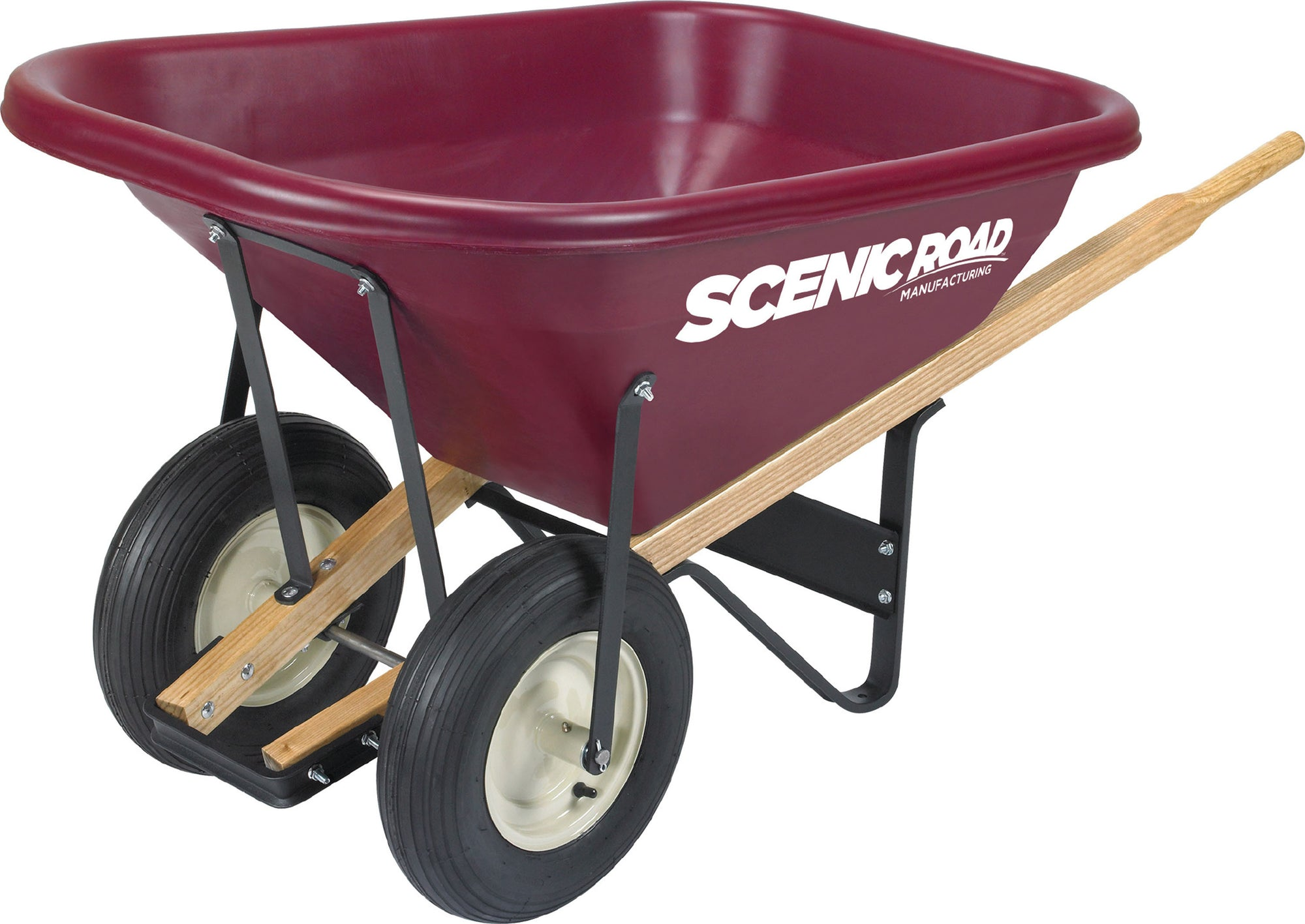 Scenic Road 8 Cubic Foot Dual Wheel Wheelbarrow W/Ribbed Tire