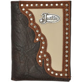 Justin Cream Inlay Brown Western Trifold Wallet