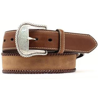 Men's Concho Braided Edge Leather Belt Reg And Big Brown