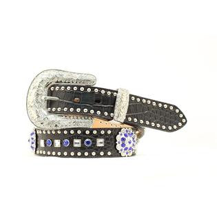 Women's Blue And Clear Rhinestone Concho Studded Leather Belt Black