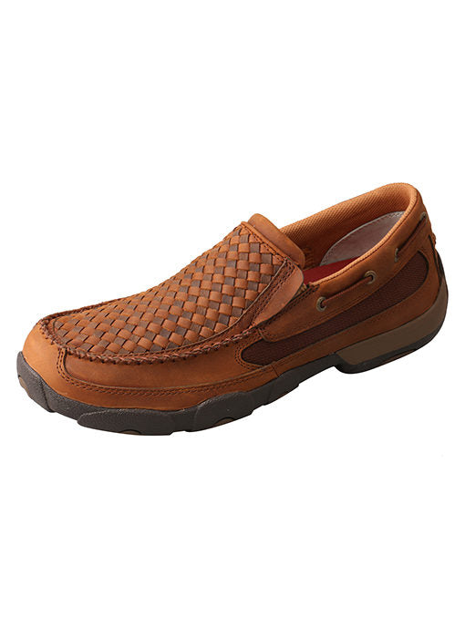 Men's Twisted X Slip-On Driving Moc- Oiled Saddle/Brown- MDMS017