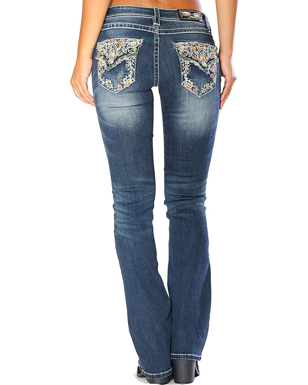 Grace in LA Women's Blue Floral Embroidered Flap Jeans Boot Cut - EB3202