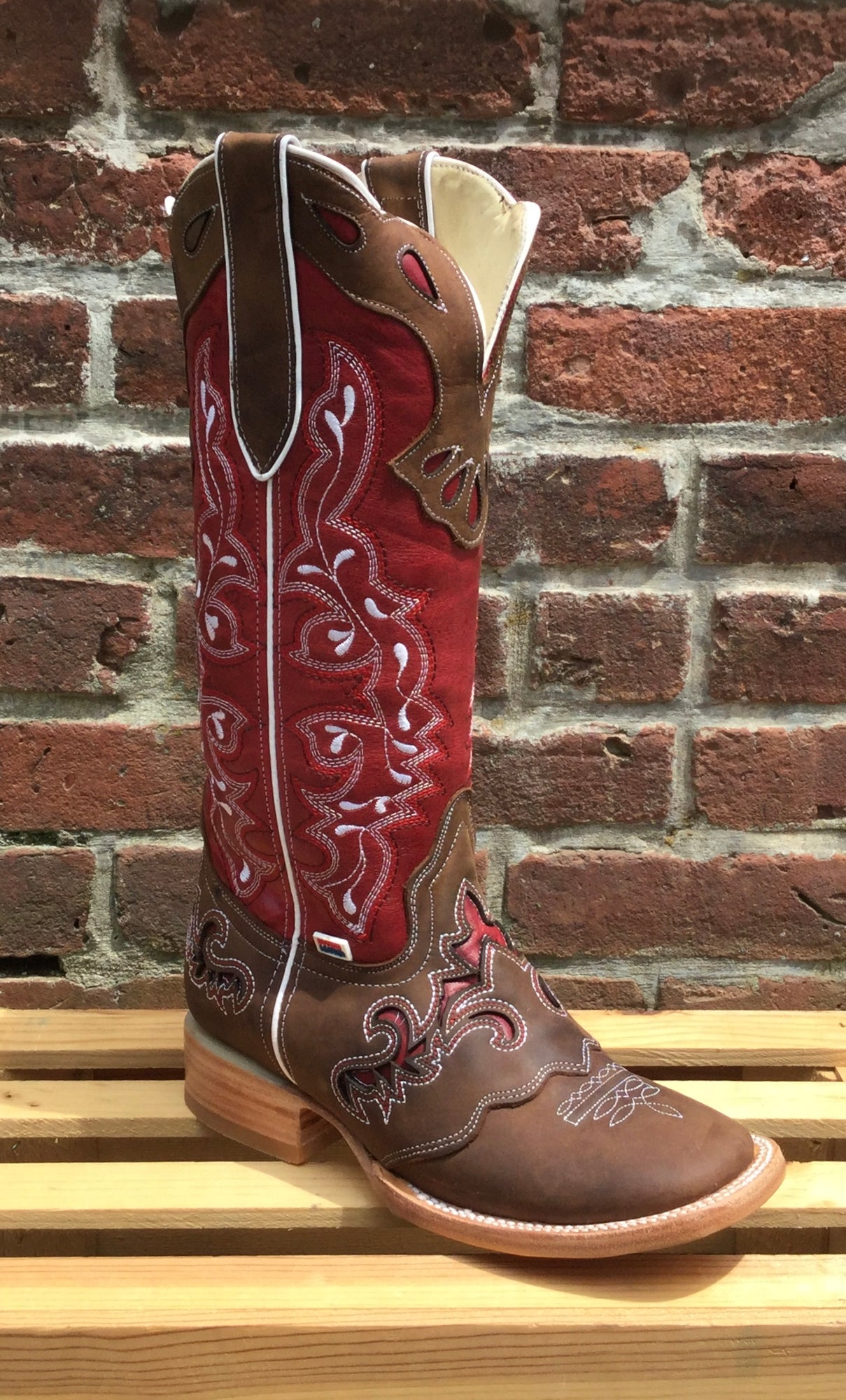 Women's Rockin Leather Tall Distressed Brown Boot with Wide Square Toe in Red
