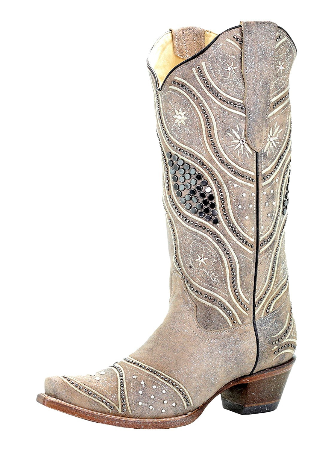 Ladies' Corral Bone Embroidery and Studs Boots