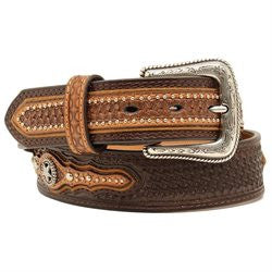 Men's Basketweave Star Concho Belt Brown